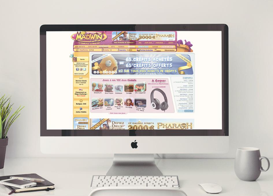 Site internet Madwin.com - page Jeux Gratuits